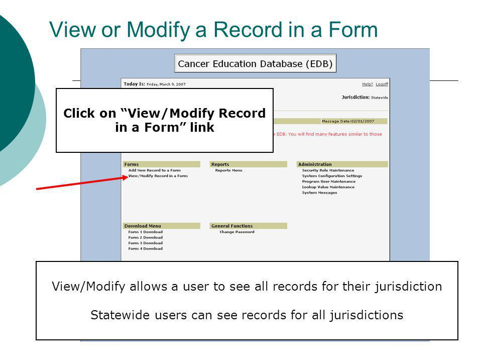 View or Modify a Record in a Form