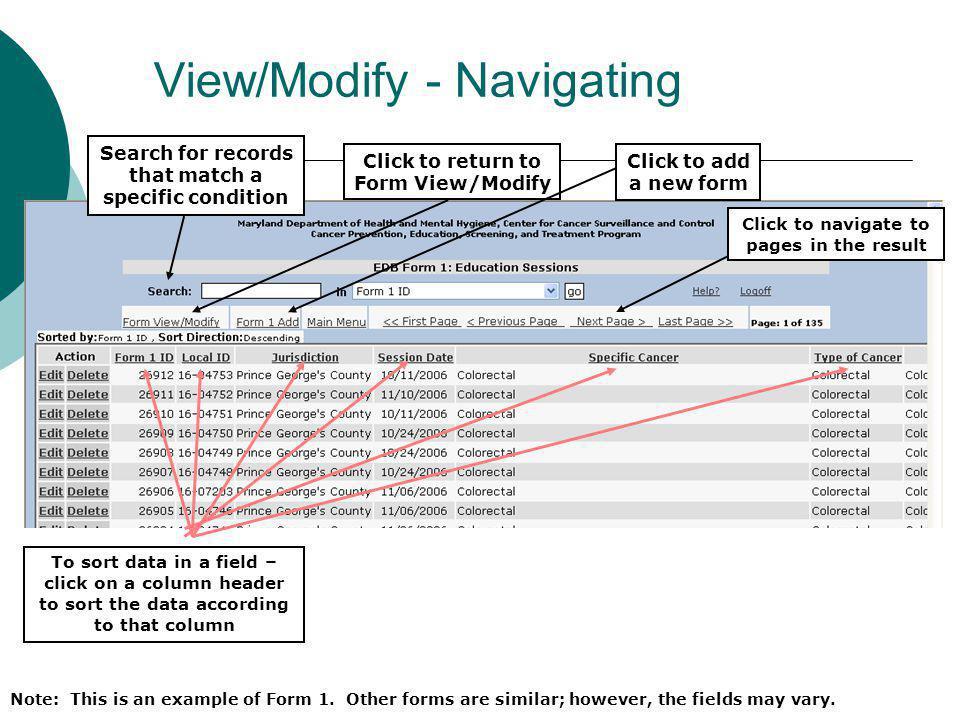 View/Modify - Navigating