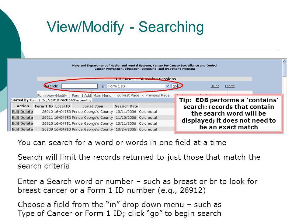 View/Modify - Searching