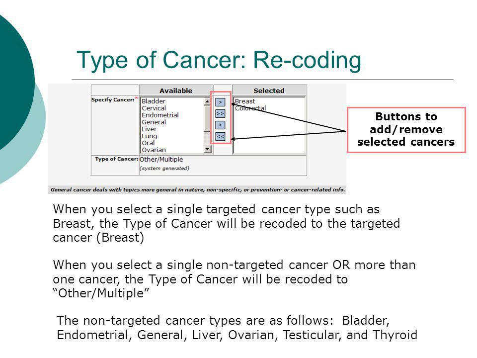 Type of Cancer: Re-coding