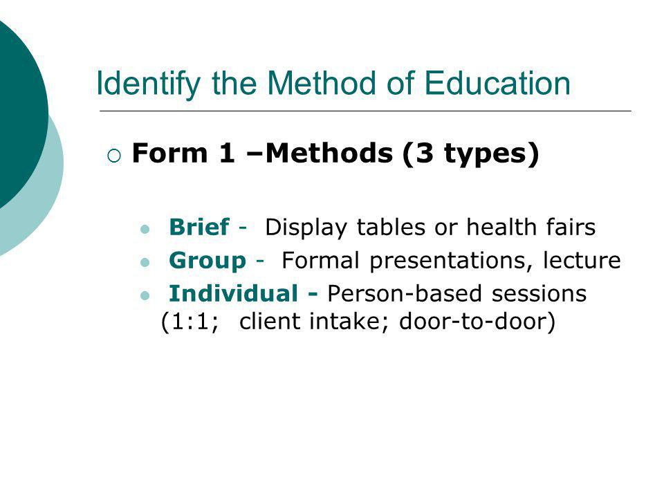 Identify the Method of Education