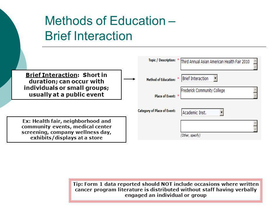Methods of Education – Brief Interaction