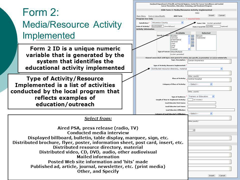 Form 2: Media/Resource Activity Implemented