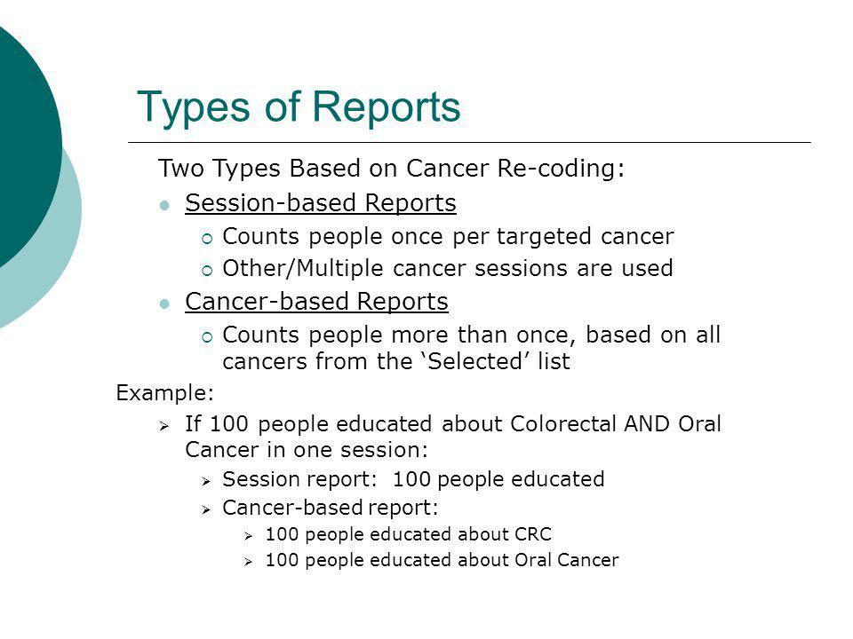 Types of Reports Two Types Based on Cancer Re-coding: