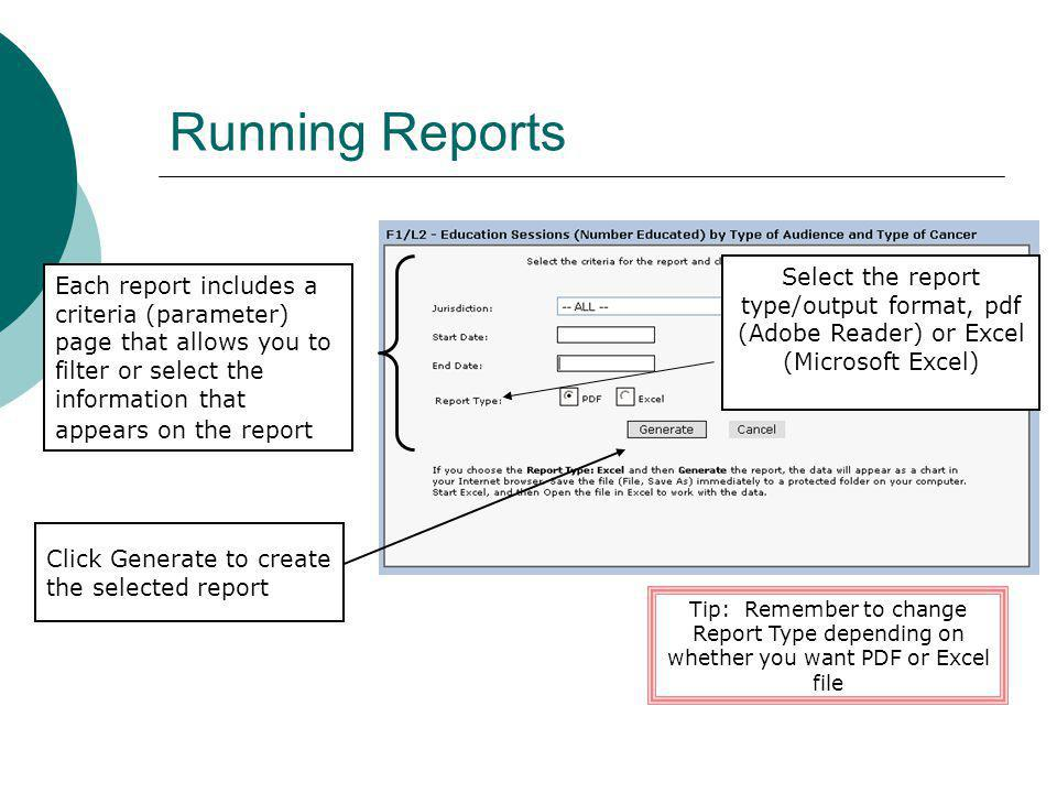 Running Reports Select the report type/output format, pdf (Adobe Reader) or Excel (Microsoft Excel)