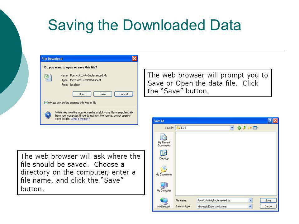 Saving the Downloaded Data
