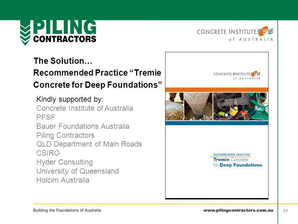 Recommended Practice Tremie Concrete for Deep Foundations