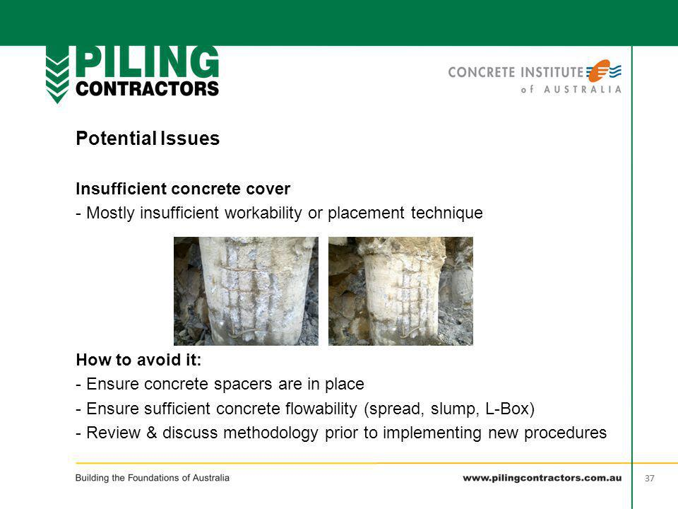 Potential Issues Insufficient concrete cover