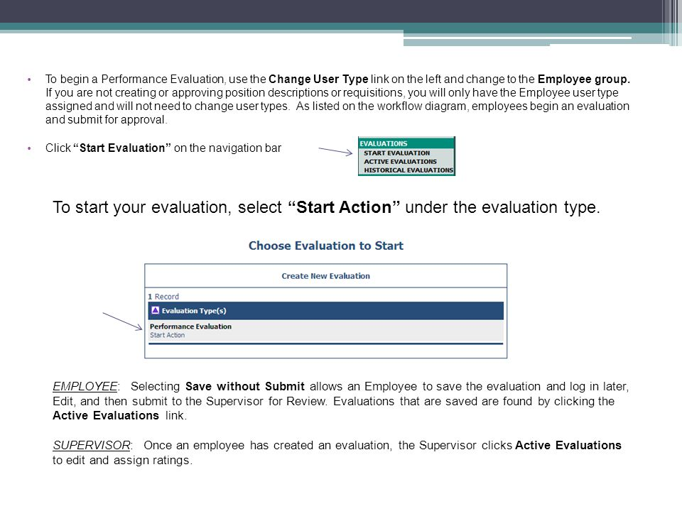 To begin a Performance Evaluation, use the Change User Type link on the left and change to the Employee group. If you are not creating or approving position descriptions or requisitions, you will only have the Employee user type assigned and will not need to change user types. As listed on the workflow diagram, employees begin an evaluation and submit for approval.