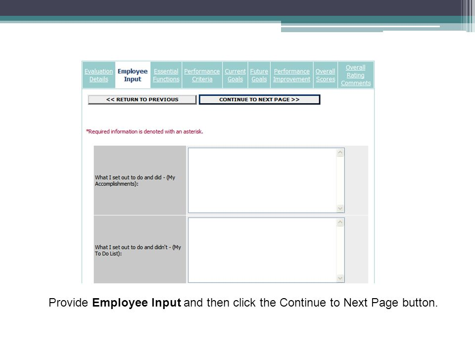 Provide Employee Input and then click the Continue to Next Page button.