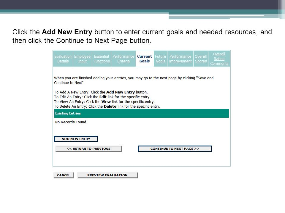 Click the Add New Entry button to enter current goals and needed resources, and then click the Continue to Next Page button.