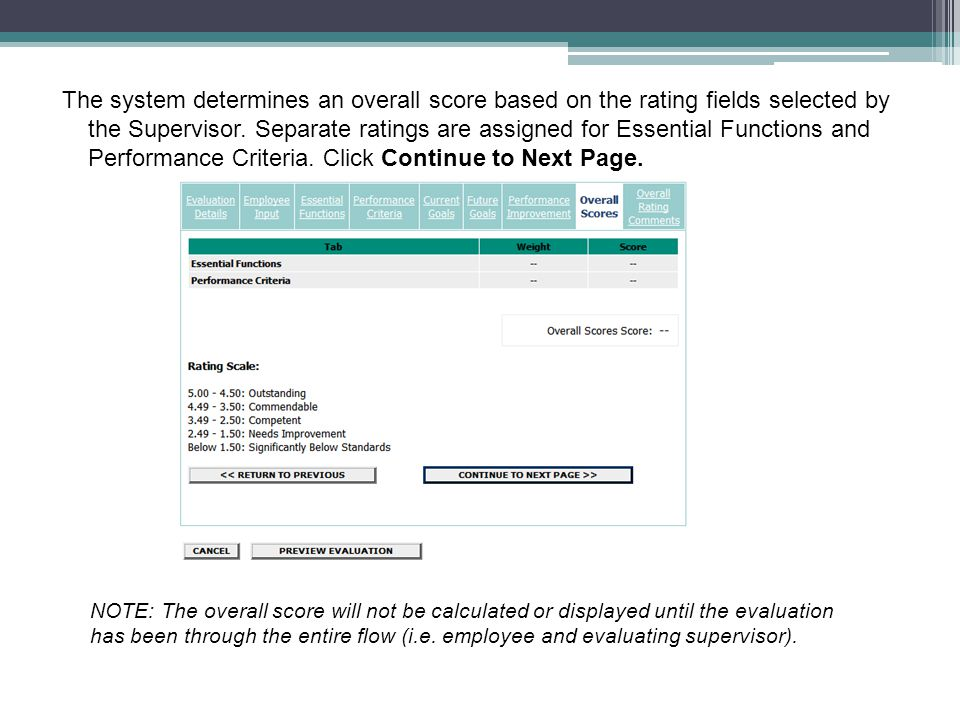 The system determines an overall score based on the rating fields selected by the Supervisor. Separate ratings are assigned for Essential Functions and Performance Criteria. Click Continue to Next Page.