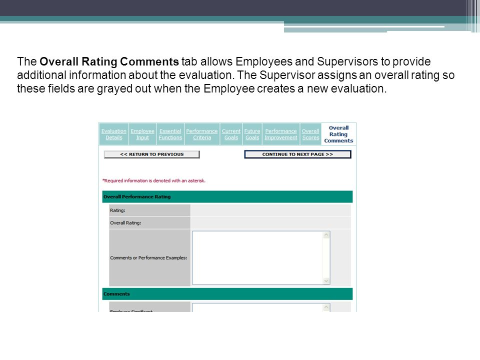 The Overall Rating Comments tab allows Employees and Supervisors to provide additional information about the evaluation.