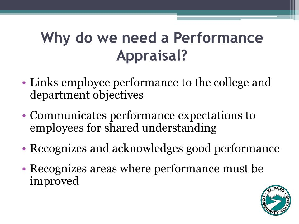 Why do we need a Performance Appraisal