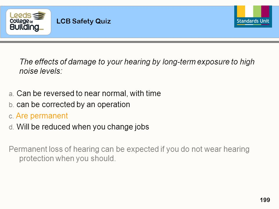 The effects of damage to your hearing by long-term exposure to high noise levels: