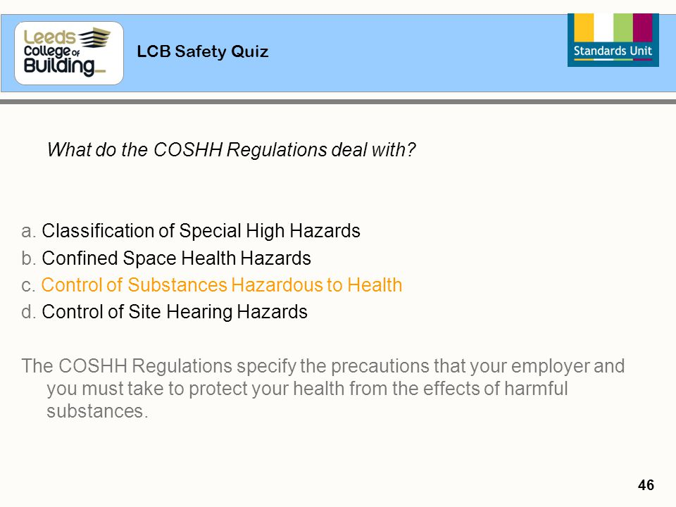 a. Classification of Special High Hazards