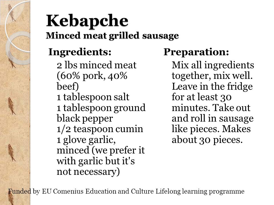 Kebapche Minced meat grilled sausage