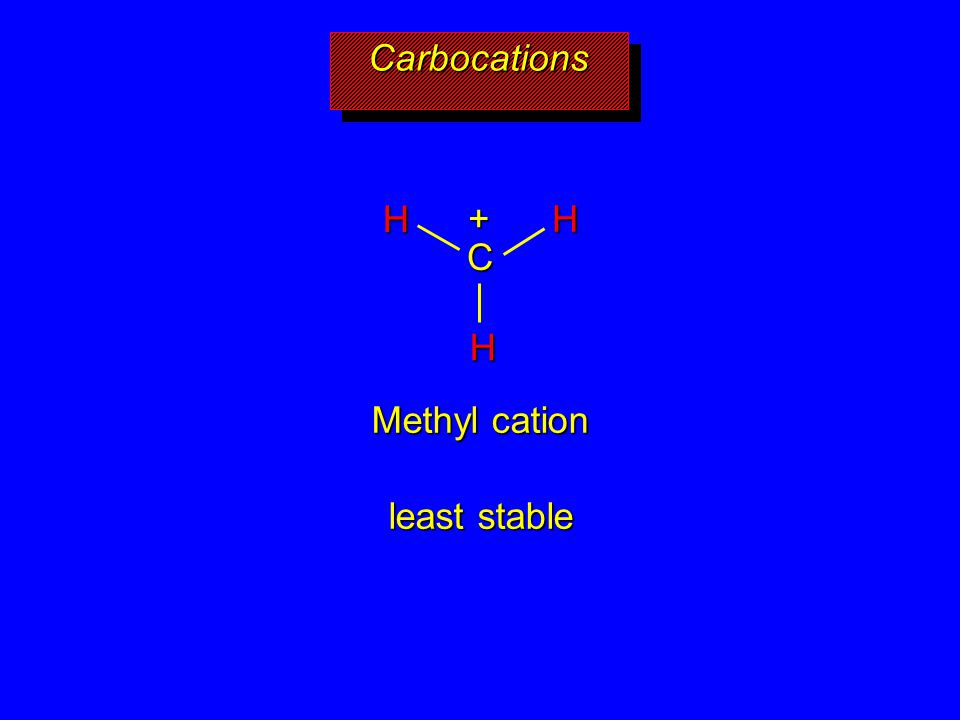 Methyl cation least stable