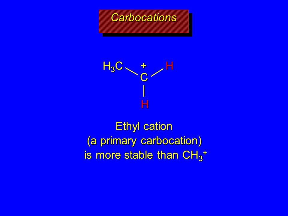Ethyl cation (a primary carbocation) is more stable than CH3+
