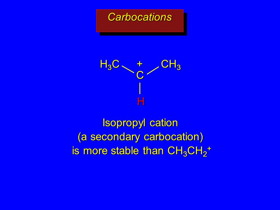 Isopropyl cation (a secondary carbocation) is more stable than CH3CH2+