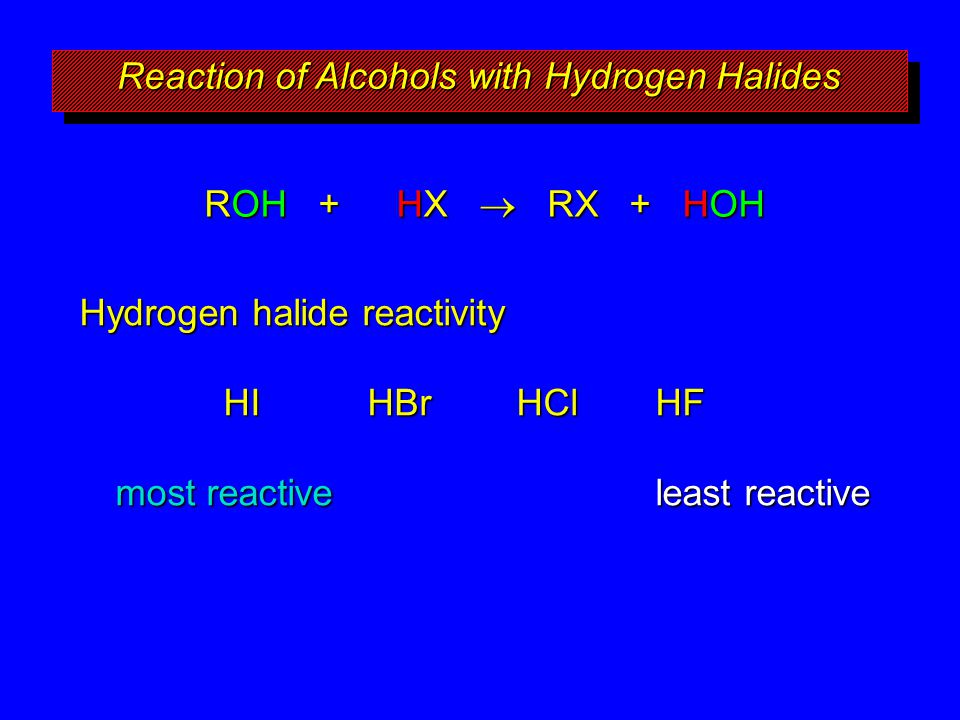 Reaction of Alcohols with Hydrogen Halides