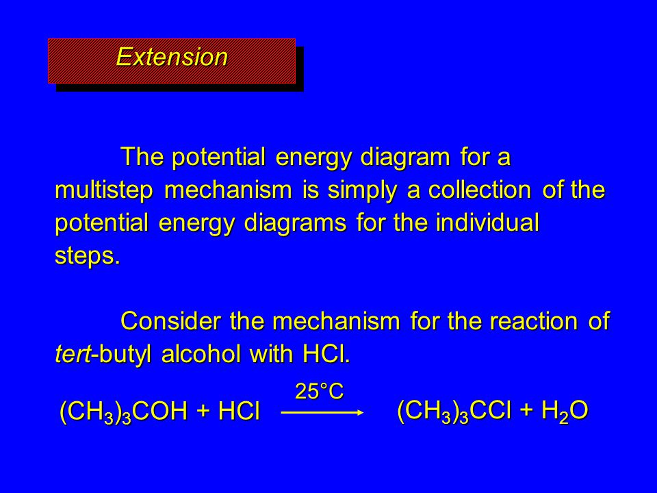 Extension The potential energy diagram for a multistep mechanism is simply a collection of the potential energy diagrams for the individual steps.