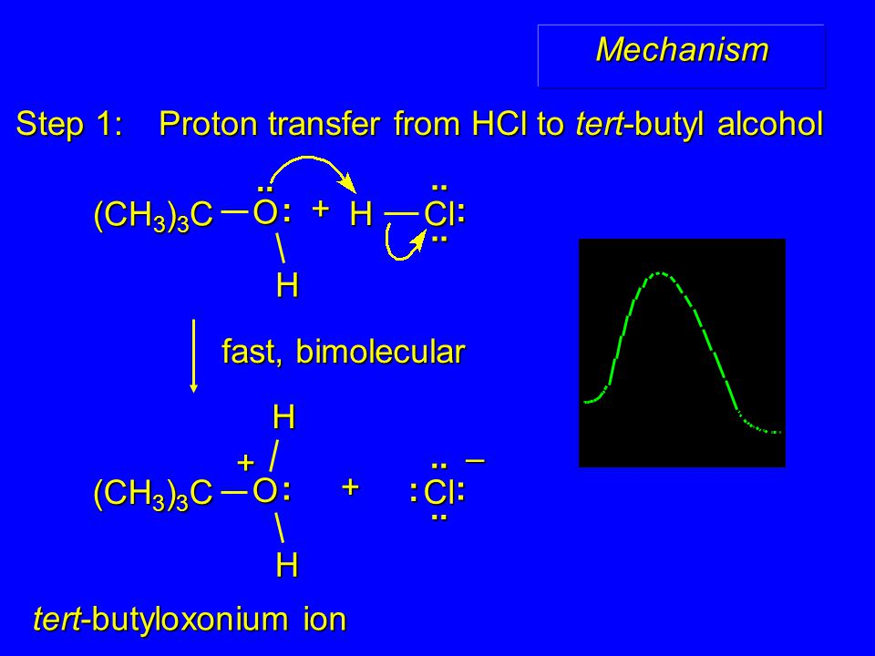 Step 1: Proton transfer from HCl to tert-butyl alcohol