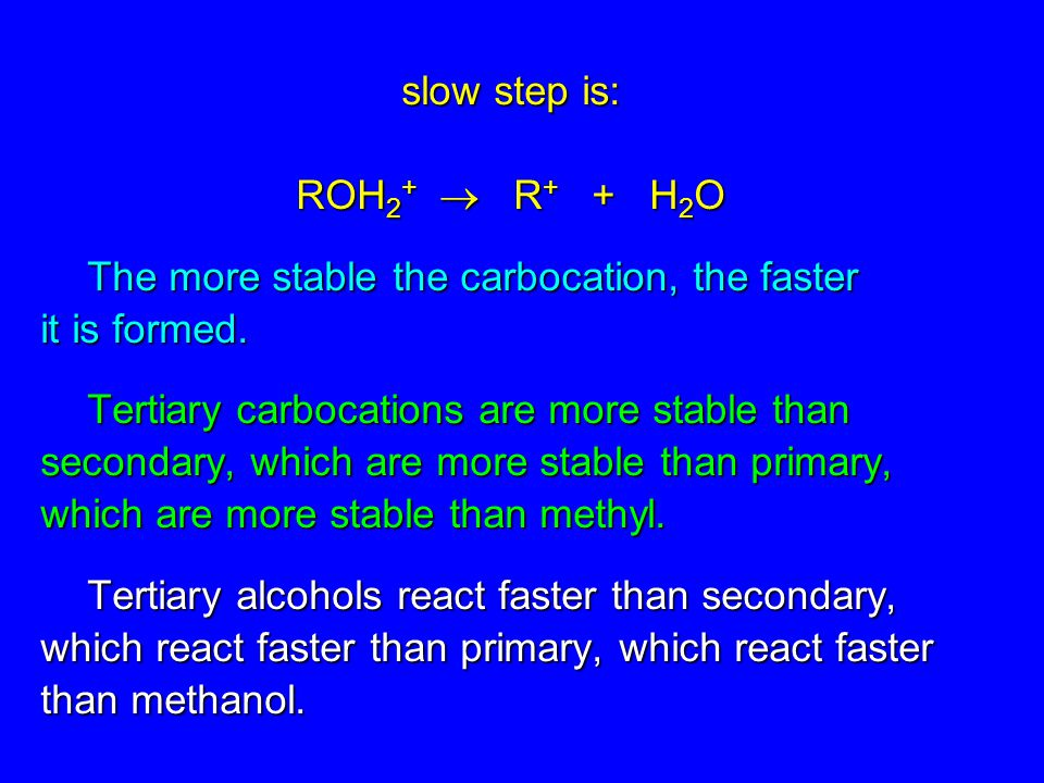 slow step is: ROH2+  R+ + H2O