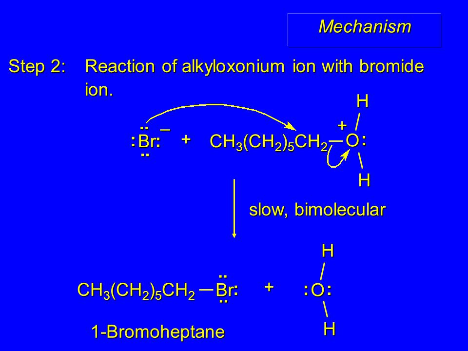 Step 2: Reaction of alkyloxonium ion with bromide ion.