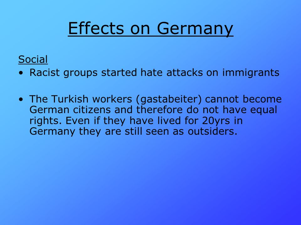 Effects on Germany Social