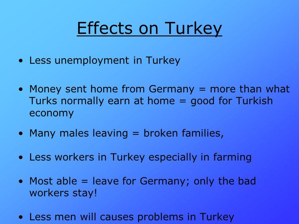 Effects on Turkey Less unemployment in Turkey