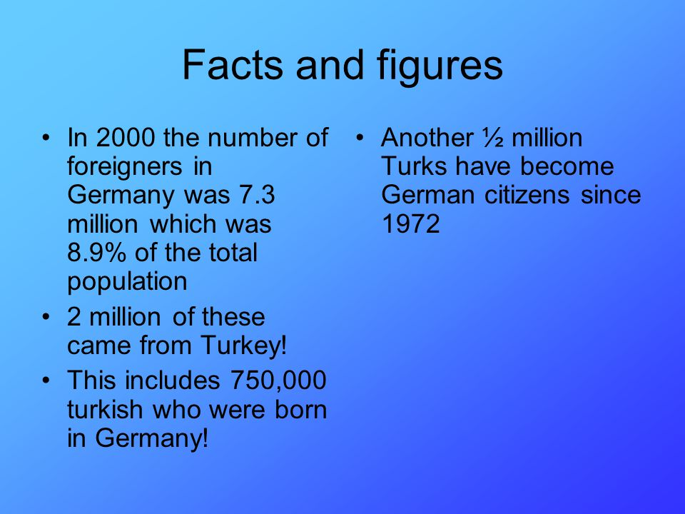 Facts and figures In 2000 the number of foreigners in Germany was 7.3 million which was 8.9% of the total population.