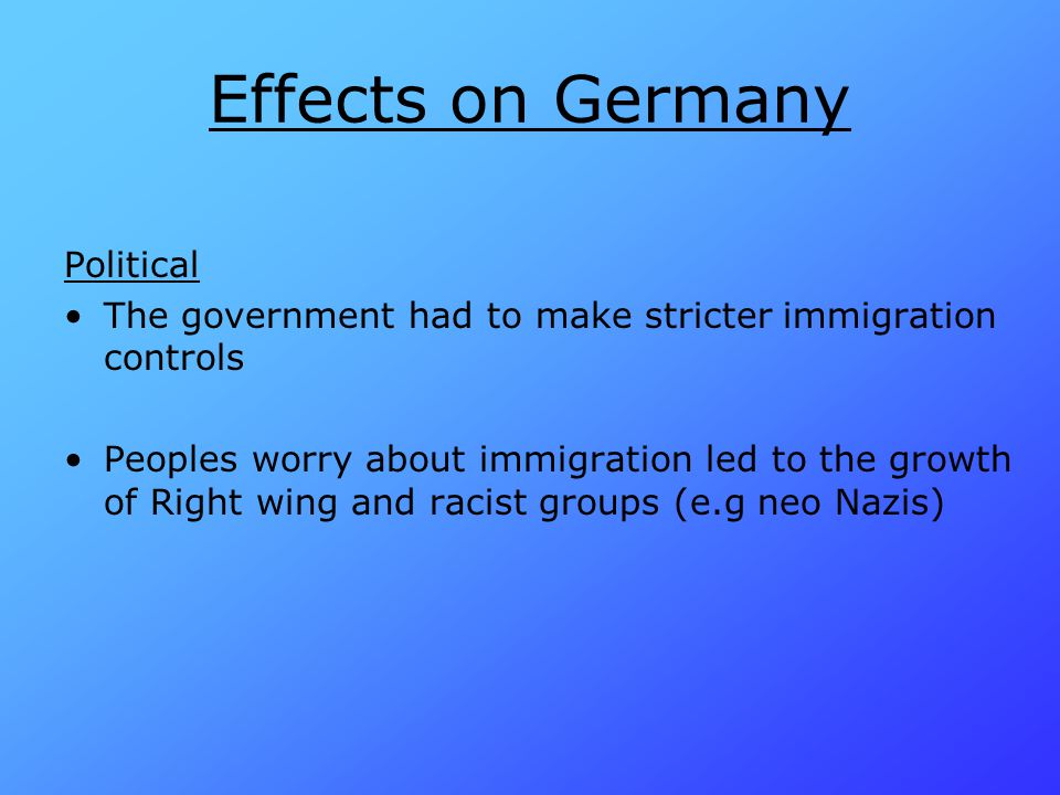 Effects on Germany Political
