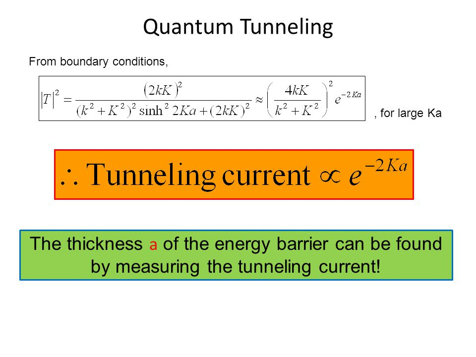 Quantum Tunneling From boundary conditions, , for large Ka.