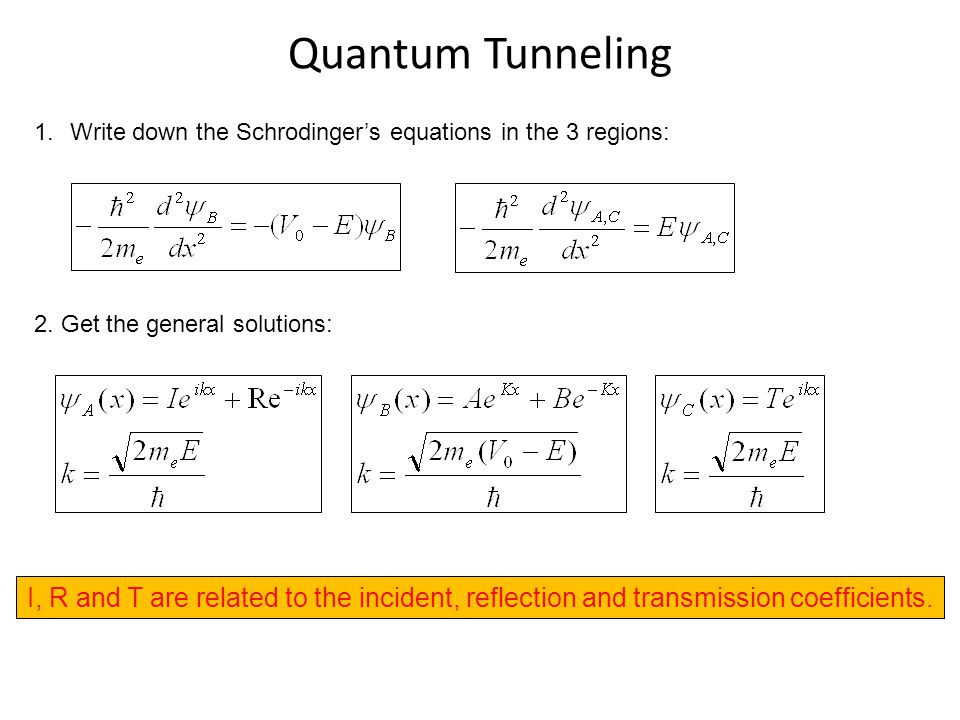 Quantum Tunneling Write down the Schrodinger's equations in the 3 regions: 2. Get the general solutions: