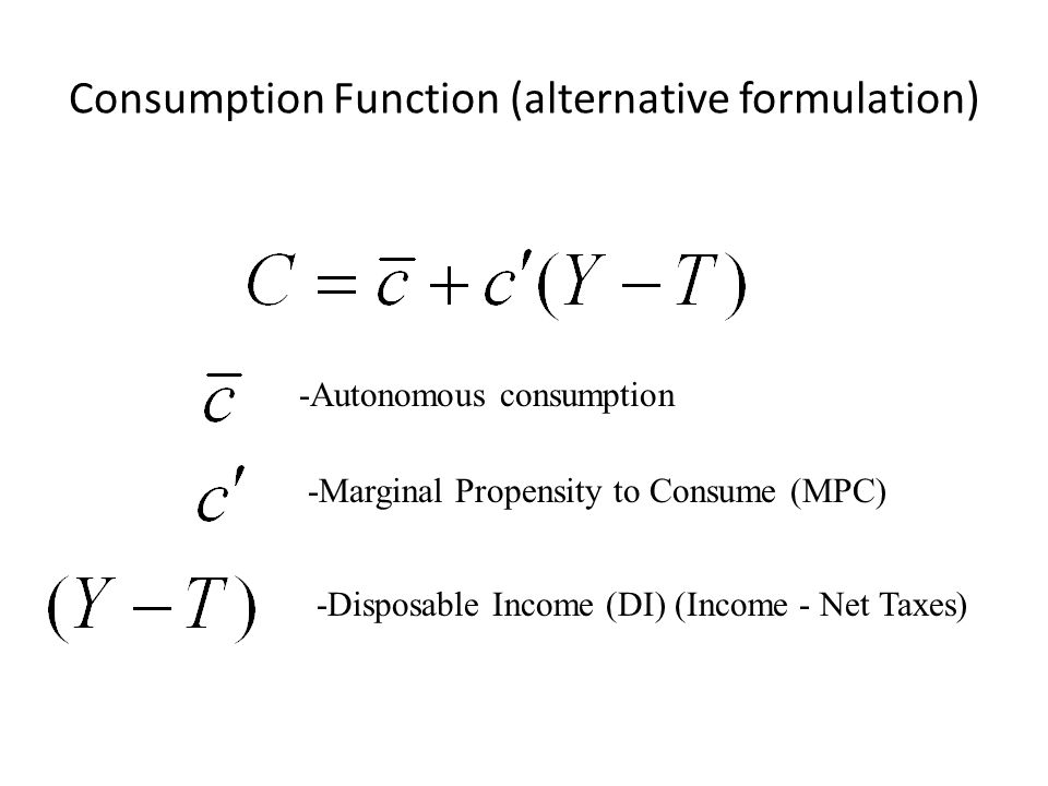 Consumption Function (alternative formulation)