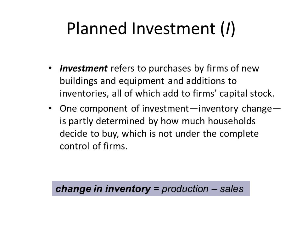 Planned Investment (I)
