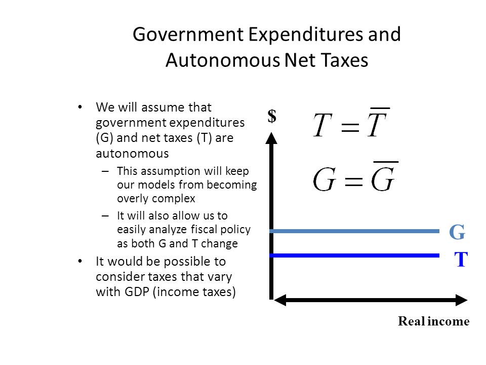 Government Expenditures and Autonomous Net Taxes