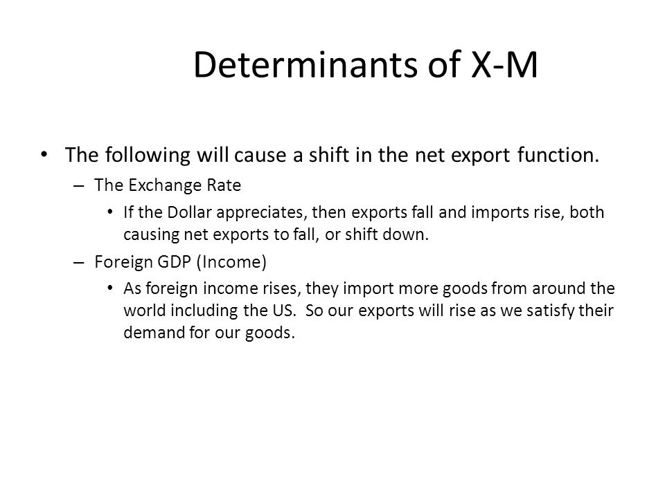 Determinants of X-M The following will cause a shift in the net export function. The Exchange Rate.