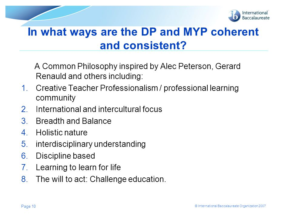 In what ways are the DP and MYP coherent and consistent