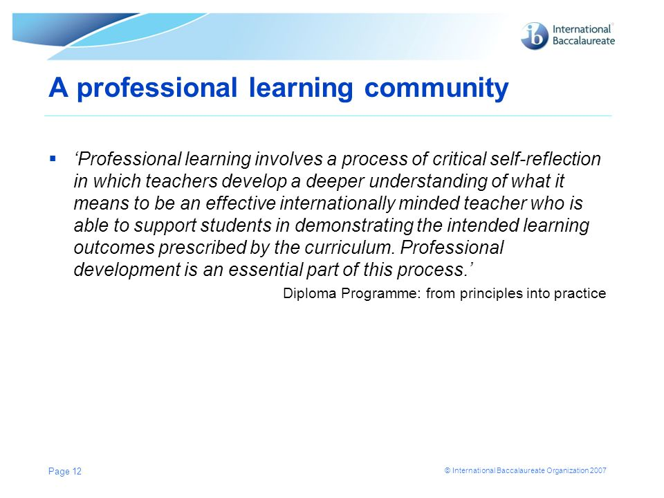 A professional learning community