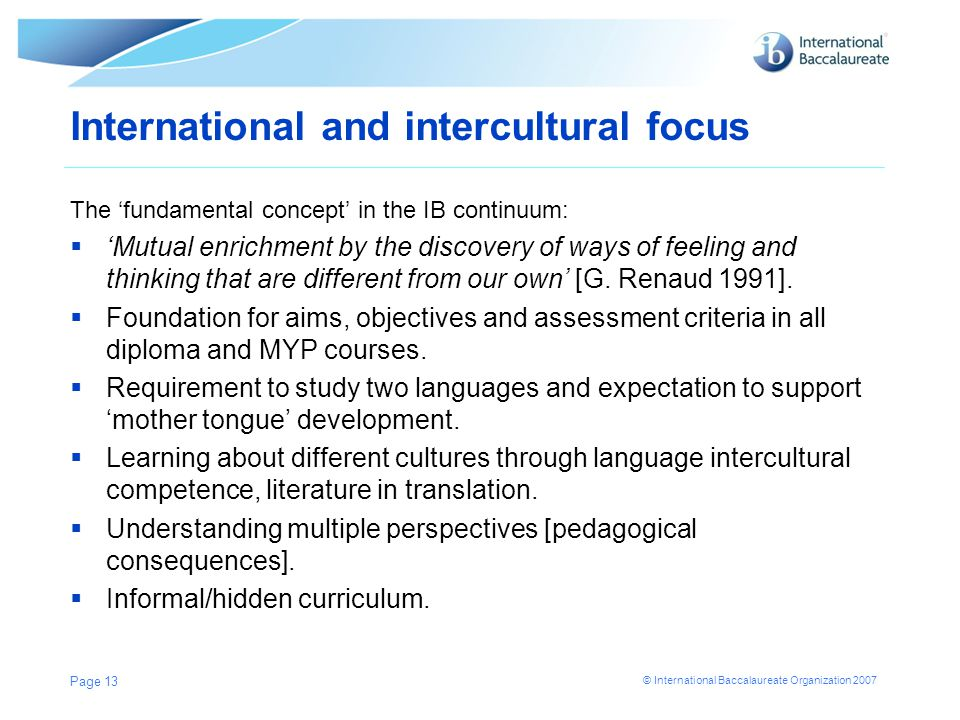International and intercultural focus