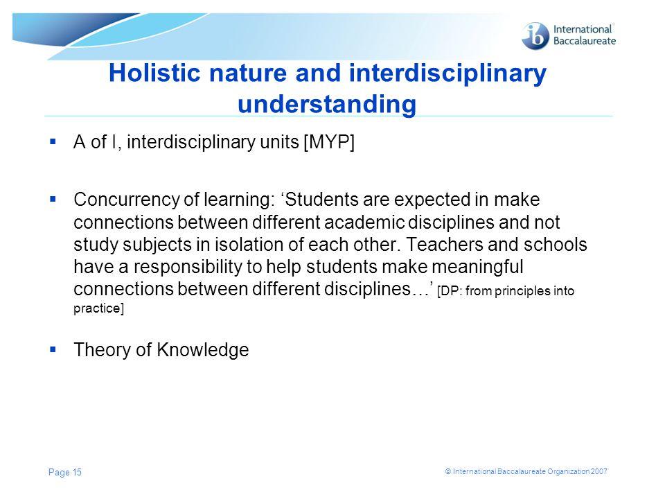 Holistic nature and interdisciplinary understanding