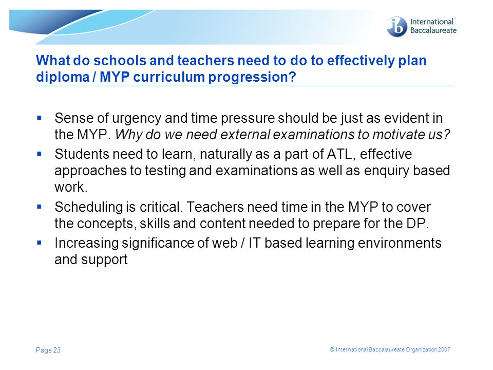 What do schools and teachers need to do to effectively plan diploma / MYP curriculum progression