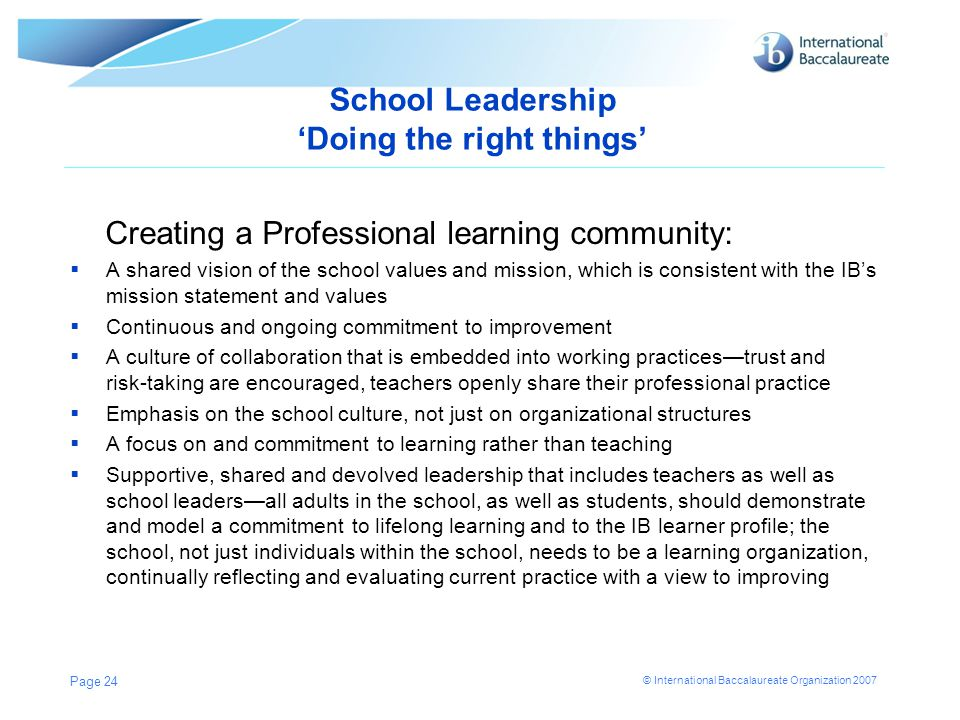 School Leadership 'Doing the right things'