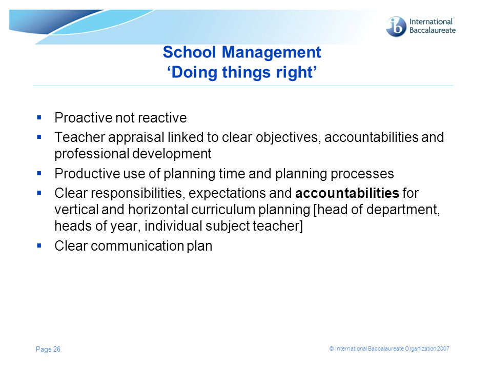School Management 'Doing things right'