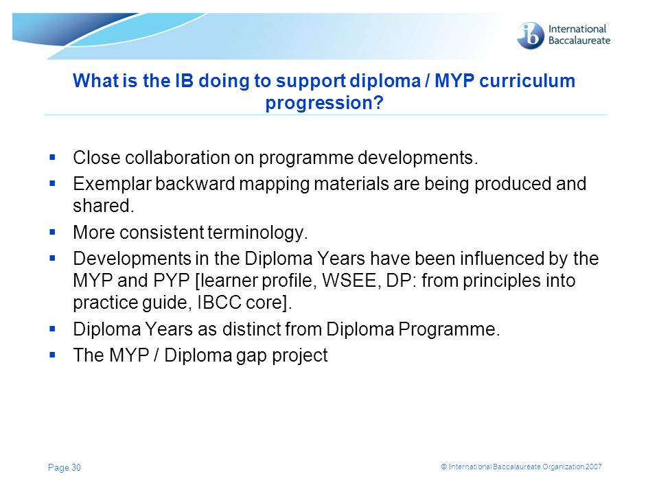 What is the IB doing to support diploma / MYP curriculum progression
