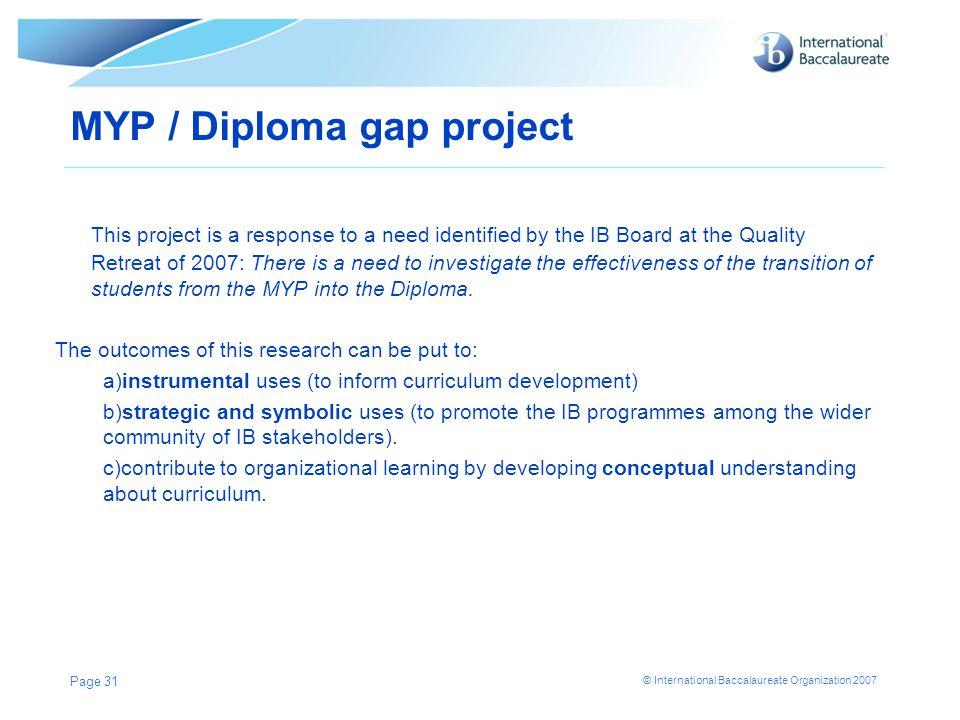 MYP / Diploma gap project