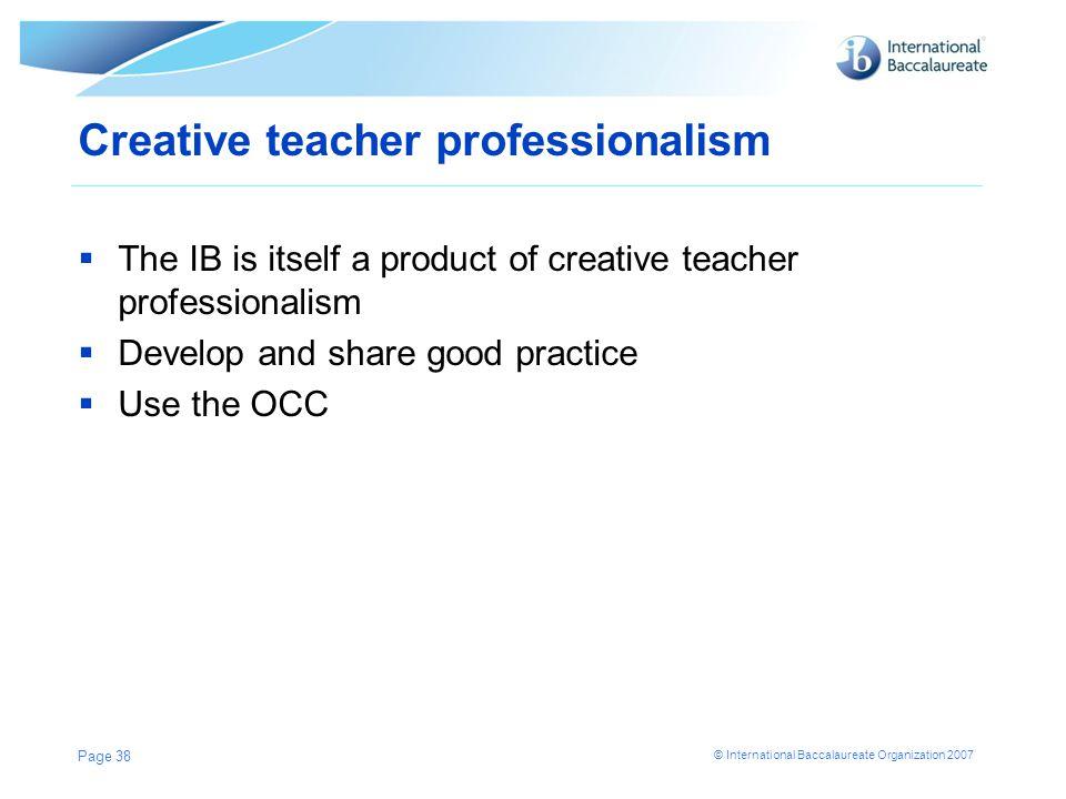 Creative teacher professionalism
