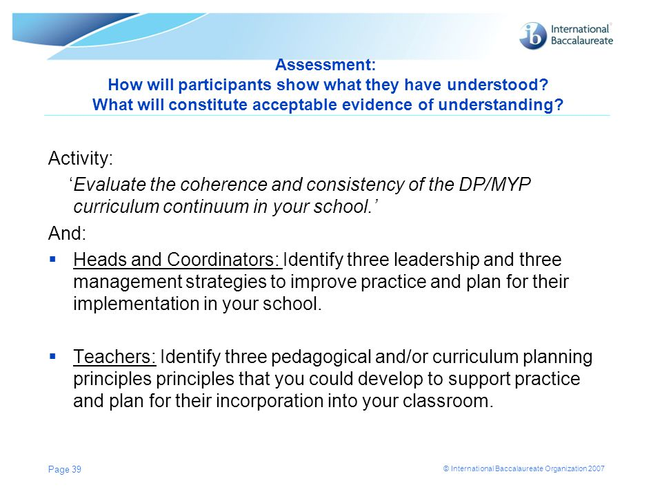 Assessment: How will participants show what they have understood